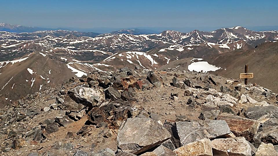 The summit of Grays Peak (14,278 feet) overlooking Summit County and its sister, Torreys Peak (14,275 feet).