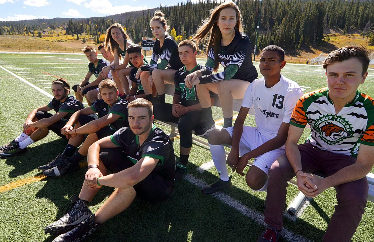 Summit High School's senior athletes and all-stars (top row, from left): Eric Robinson (football No. 89), Cole Catron (soccer No. 16), Katie Mason (XC), Adolfo Vasquez (football No. 3), Jemma Jackman (volleyball No. 4), Dean Vangsnes (football No. 78),  Elle Lyne-Schiffer (volleyball No. 11), Carlos Martinez (soccer No. 13), Spencer Tyson (MTB).Bottom row, from left: Matthew Francomano (football No. 10), Sam Hull (football No. 7), Harmon Daugherty (football No. 64).