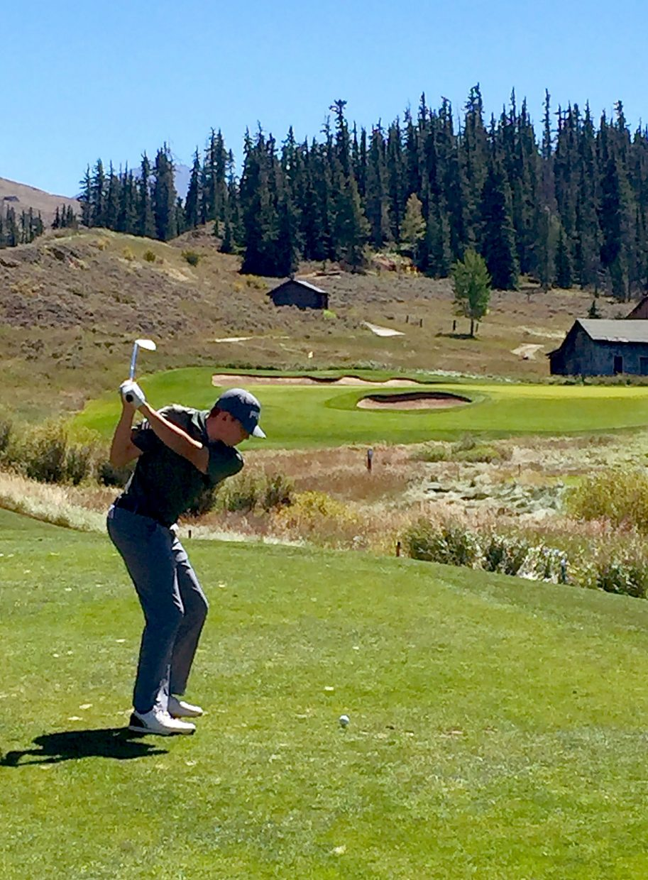 Summit senior golfer Graham Gaspard on a Par 3 at the Tigers home course, Keystone Ranch Course.