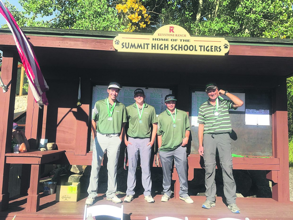 Seniors on the Summit High golf team (from left): Hays Braner, Graham Gaspard, Keegan Concelosi and head coach Gary Sorensen.