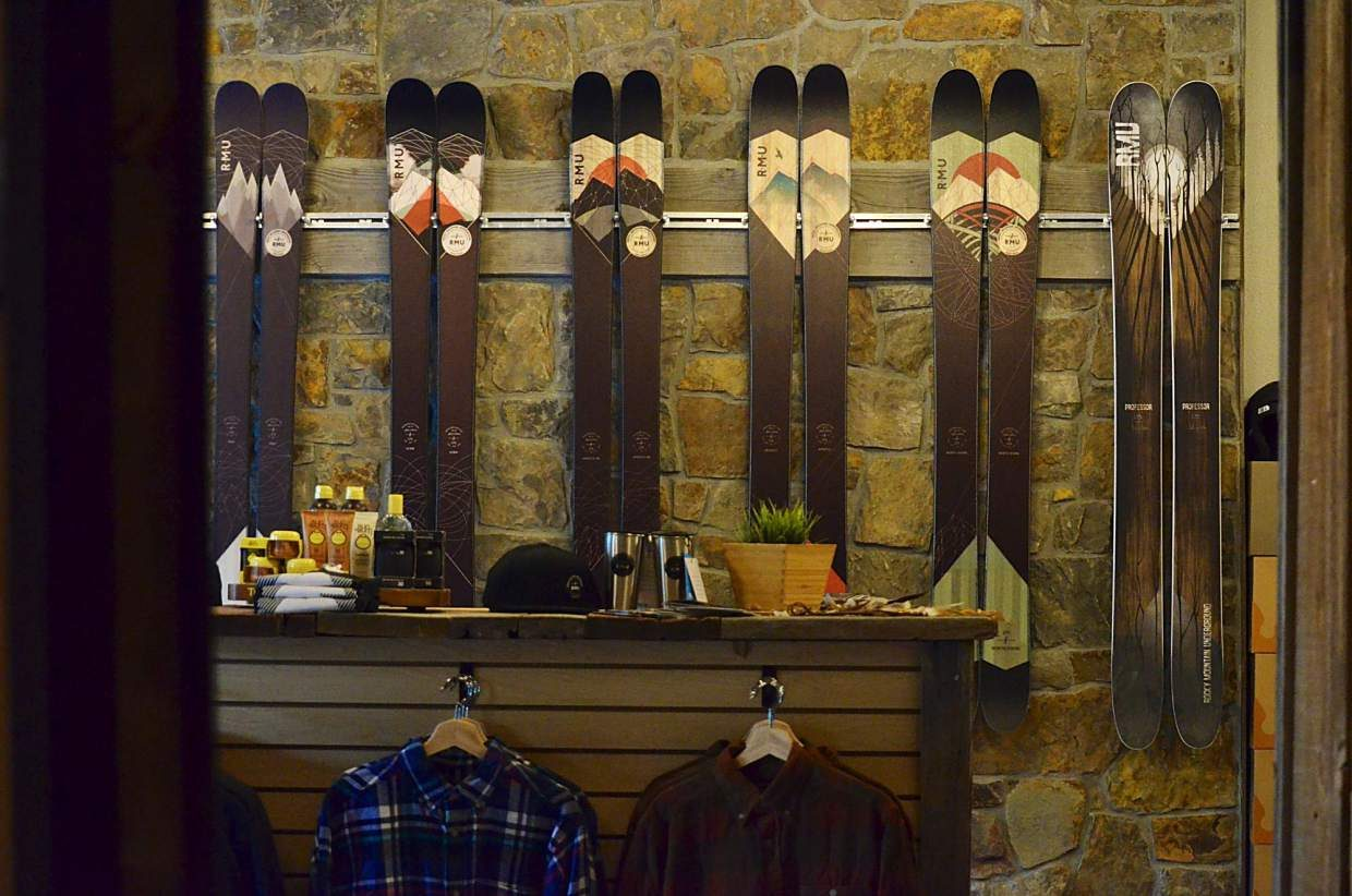 A wall of skis on display in the brand-new Rocky Mountain Underground showroom on Main Street. The showroom is attached to a soon-to-open bar, making RMU's digs the first combo ski shop/bar in Summit County.