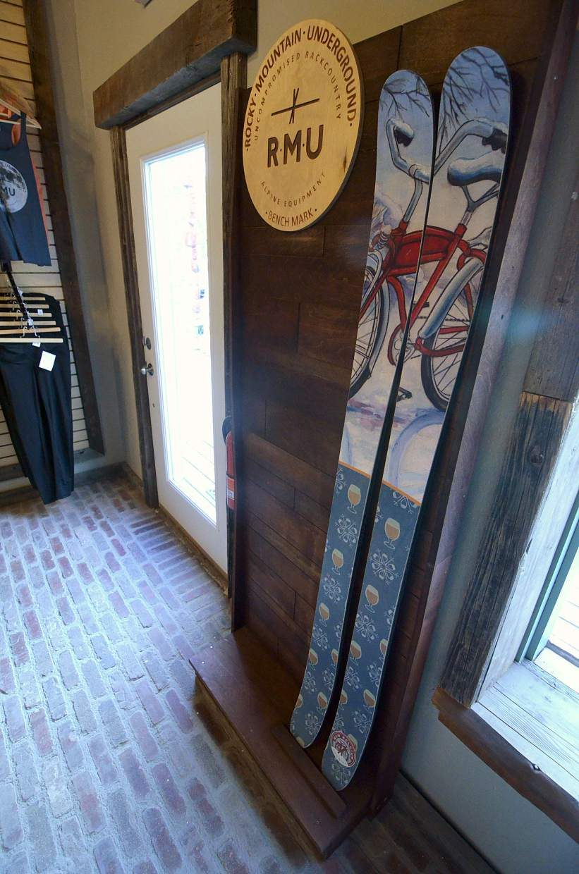 A pair of New Belgium skis lines the door at the new Rocky Mountain Underground showroom and retail store on Main Street in Breckenridge. The new location also includes an in-house bar with taps from New Belgium and a custom cocktail list.