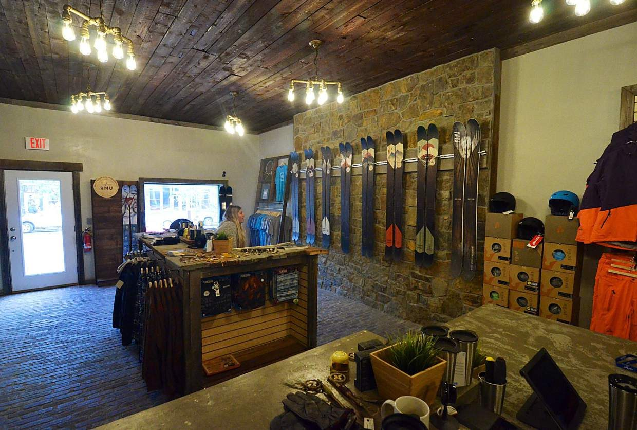 Inside the brand-new Rocky Mountain Underground showroom on Main Street in Breckenridge. The showroom is attached to an in-house bar, making RMU's new digs the first combination ski shop/bar in Summit County.