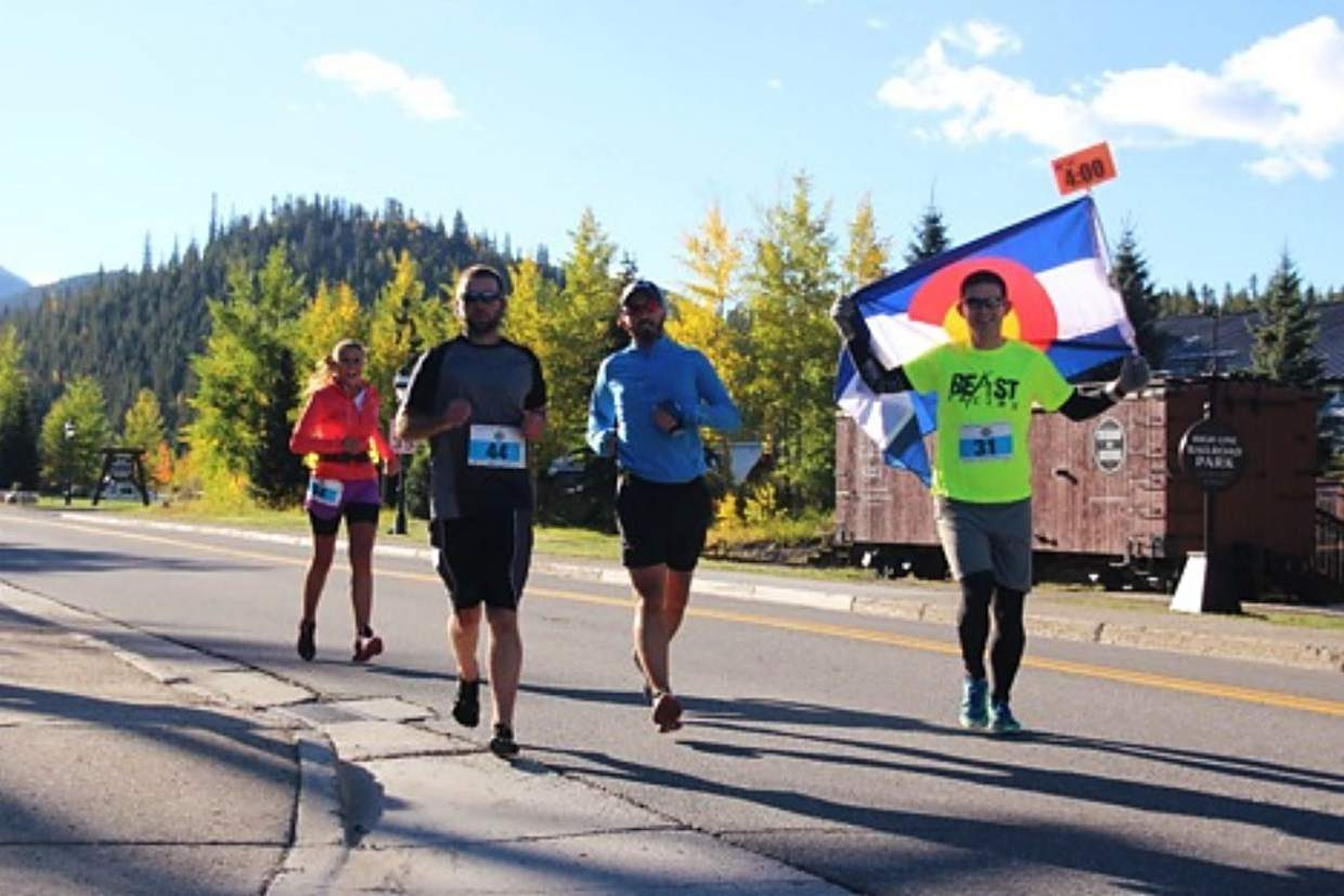 Runners on course at the Breckenridge Road Marathon.