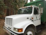 One of a local company's chipper trucks was stolen late Friday night only to turn up on a remote stretch of road 15 miles away.