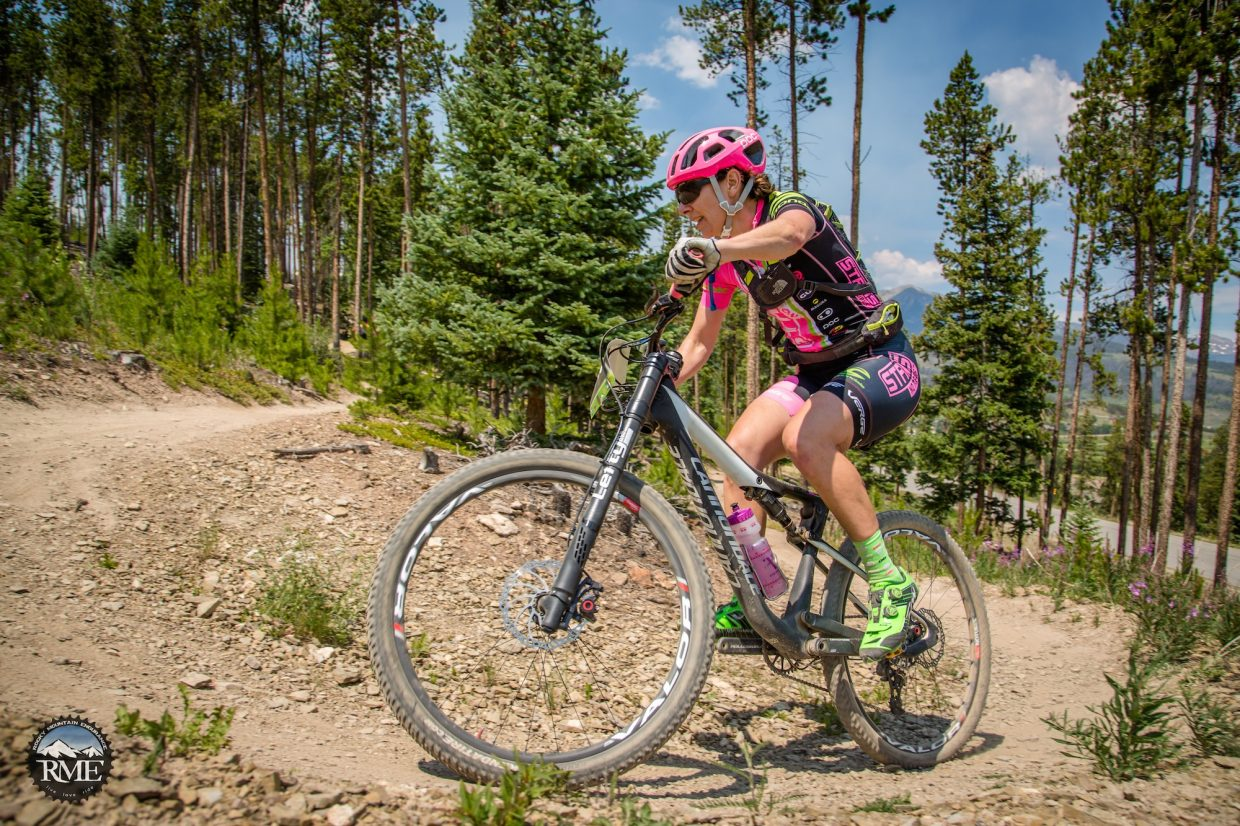 Jenny Smith rounds a corner at this year's Breck 100 race. The veteran cross-country racer also took third place at the Leadville 100 and hopes to fare well at the Vail Outlier.