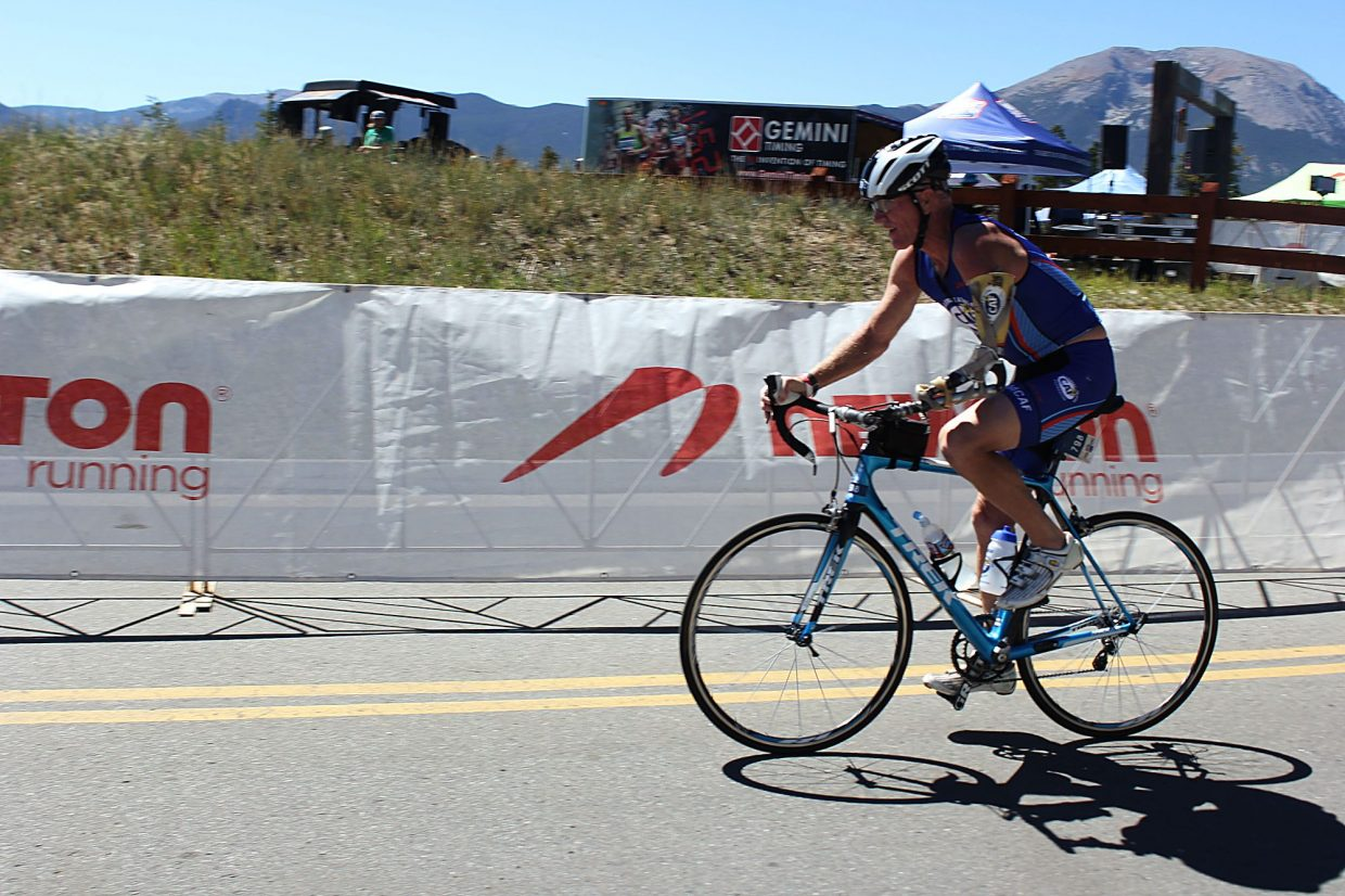 """One-Arm"" Willie Stewart finished the 56 mile bike portion of the 106 West Triathalon at just over three hours."