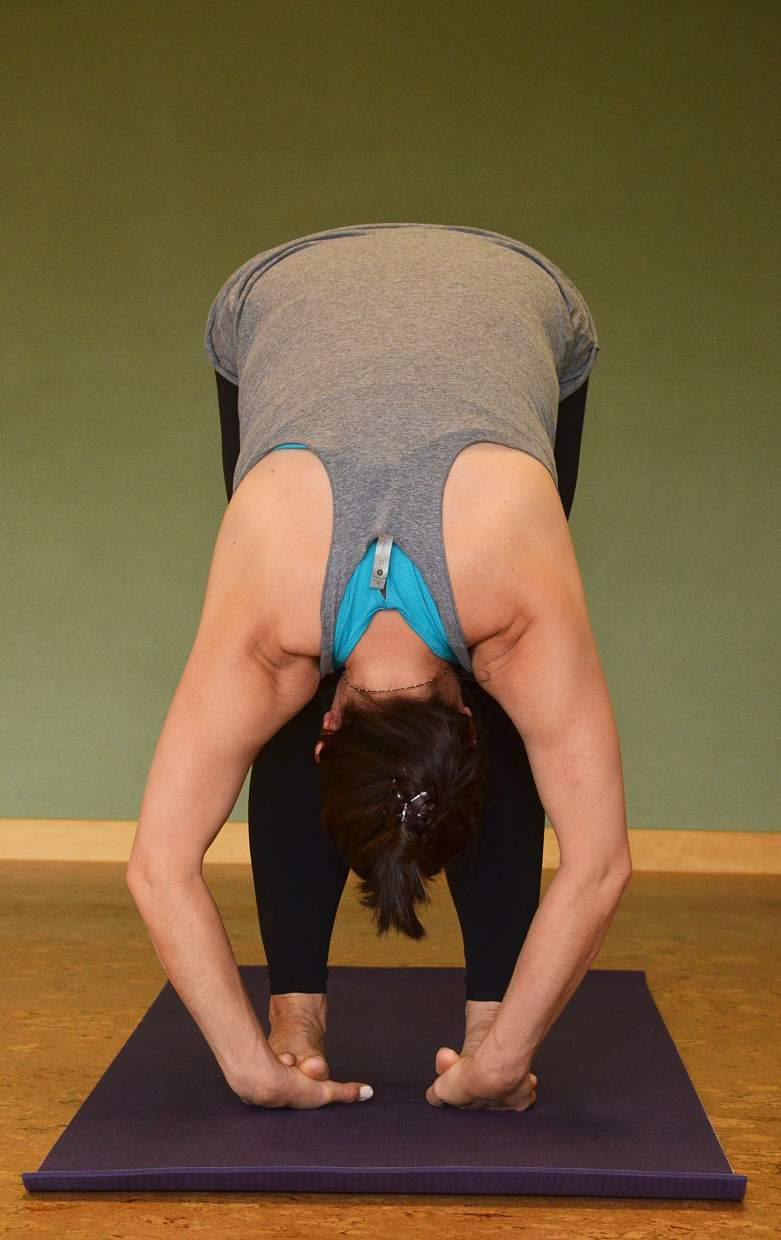 Gorilla pose yoga posture for rock climbers.