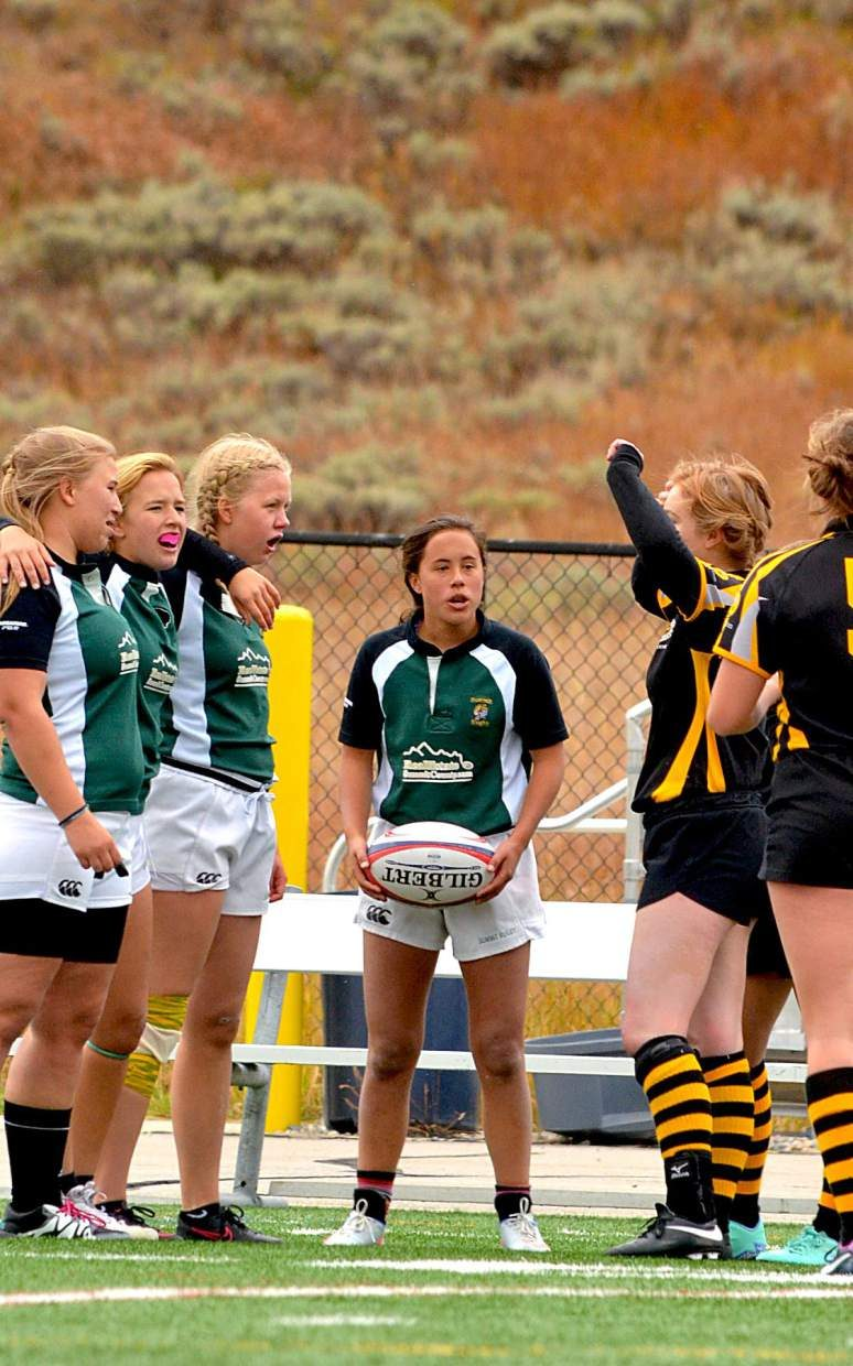 The Summit Rugby green team sets up for a line-in at a sevens match against Fort Collins on Sept. 24 at Tigers Stadium. Summit hosted eight teams for a day-long sevens tournament on homecoming weekend across Colorado. The Summit black team beat Chaparral, 33-7, to win the tourney.