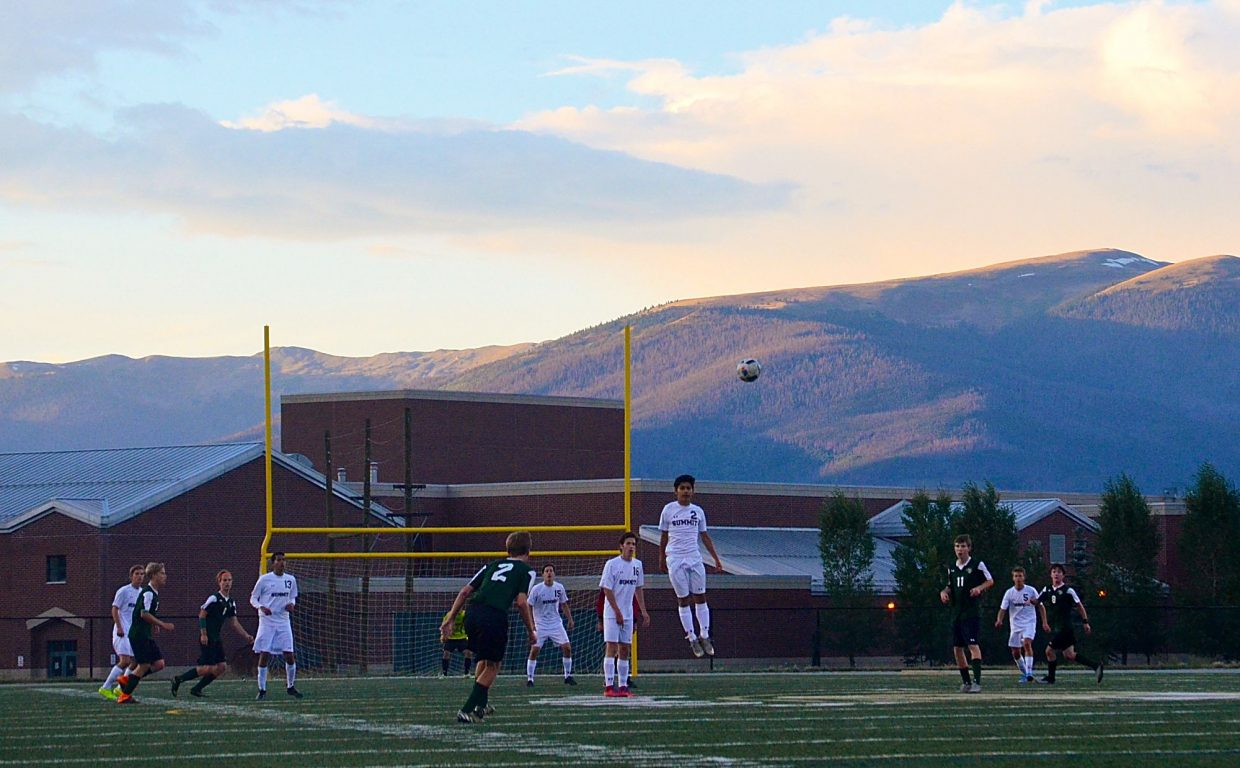 The Summit boy's soccer team en route to a 2-0 defeat of Conifer at home on Sept. 1.