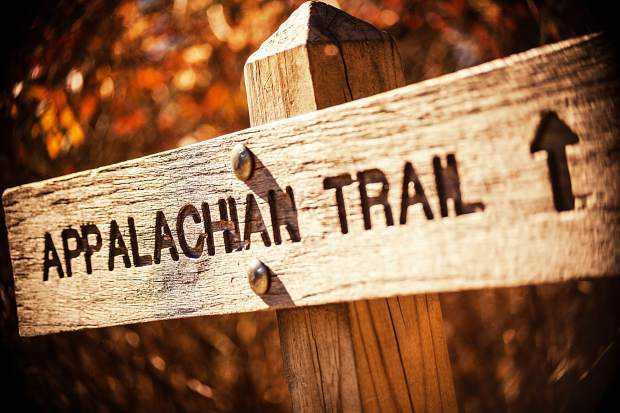 """A sign for the Appalachian Trail in the Great Smoky Mountains of Tennessee. Longtime Summit local Tom """"Rocky"""" Ruetenik recently completed the entire 2,180 miles of the AT after two decades of section hiking."""