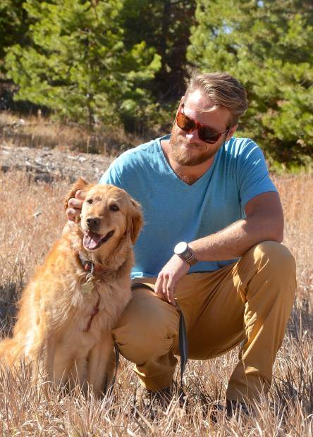 Copper ski patroller Nick Slaton with Recco, a 7-year-old golden retreiver that's been on patrol since she was a puppy. The dog works year-round on search-and-rescue operations across the state, which keeps her sharp for avalanche rescue work come wintertime.