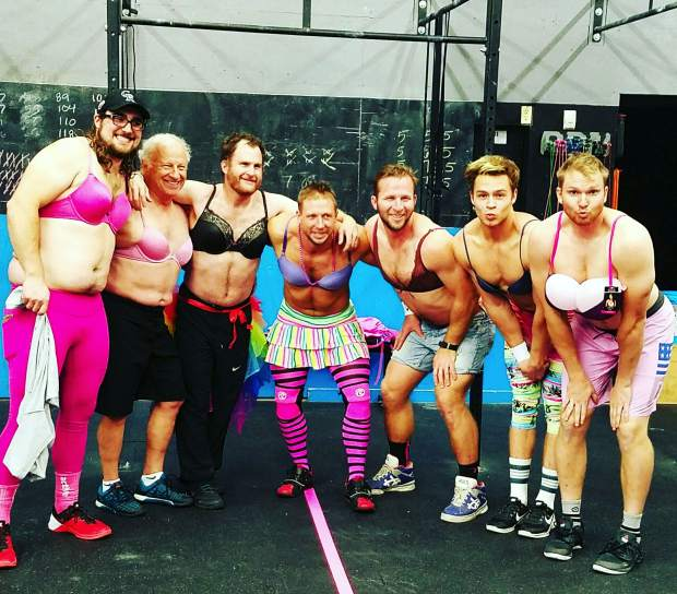 The boys in pink at the annual Barbells For Boobs fundraiser, hosted by Crossfit Low Oxygen in Frisco on Oct. 25. This year's event was dedicated to Mamta Shah, a gym member and Summit Cove resident who was diagnosed with breast cancer earlier this summer.