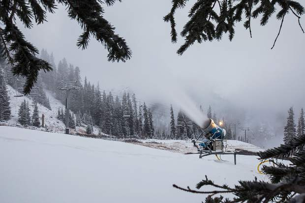 Snowmaking near the top of the High Noon blue run at Arapahoe Basin early in the morning on Oct. 19. By mid-morning, officals at the ski area announced Black Mountain Express will open for the 2016-17 season on Friday, Oct. 19. Tickets are $76 for adults, $64 for teens (15-17 years old) and $38 for children.