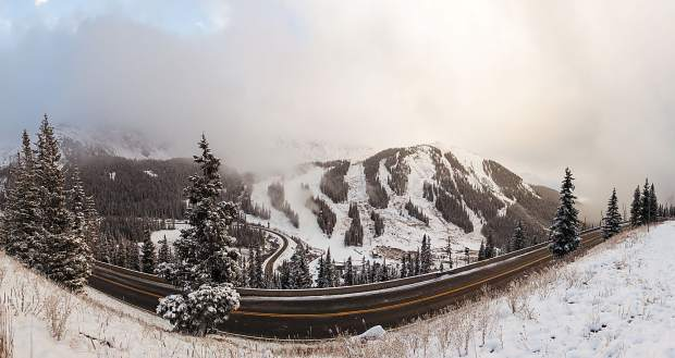 The view of Arapahoe Basin from U.S. Highway 6 heading to Loveland Pass early in the morning on Oct. 19. By mid-morning, officals at the ski area announced Black Mountain Express will open for the 2016-17 season on Friday, Oct. 19. Tickets are $76 for adults, $64 for teens (15-17 years old) and $38 for children.
