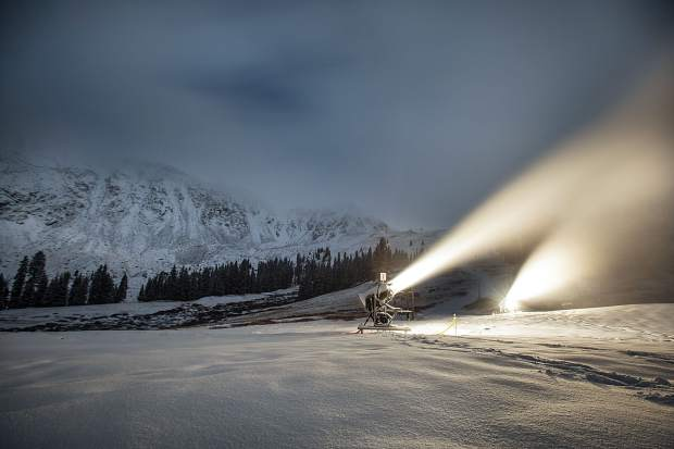 Snowmaking at Arapahoe Basin early in the morning on Oct. 19. By mid-morning, officals at the ski area announced Black Mountain Express will open for the 2016-17 season on Friday, Oct. 19. Tickets are $76 for adults, $64 for teens (15-17 years old) and $38 for children.