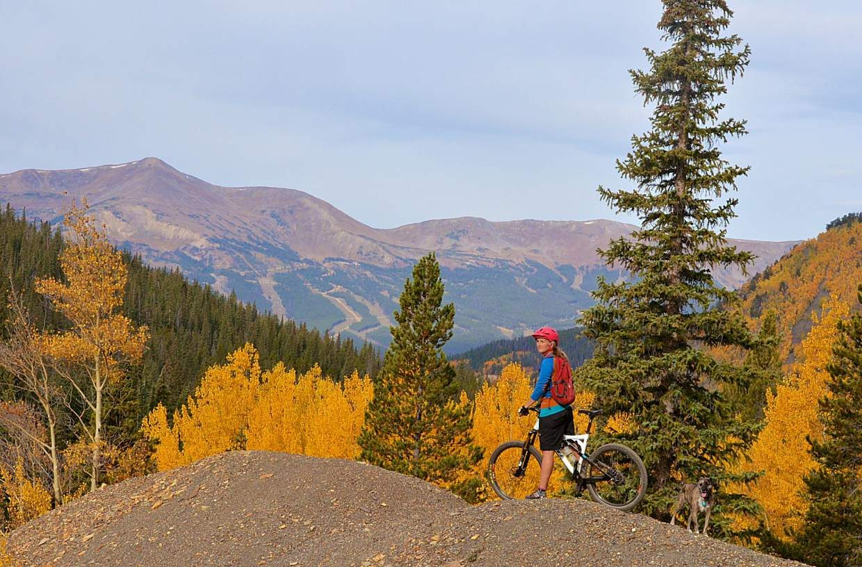 Wire Patch Trail with views of Breckenridge Resort in the background.