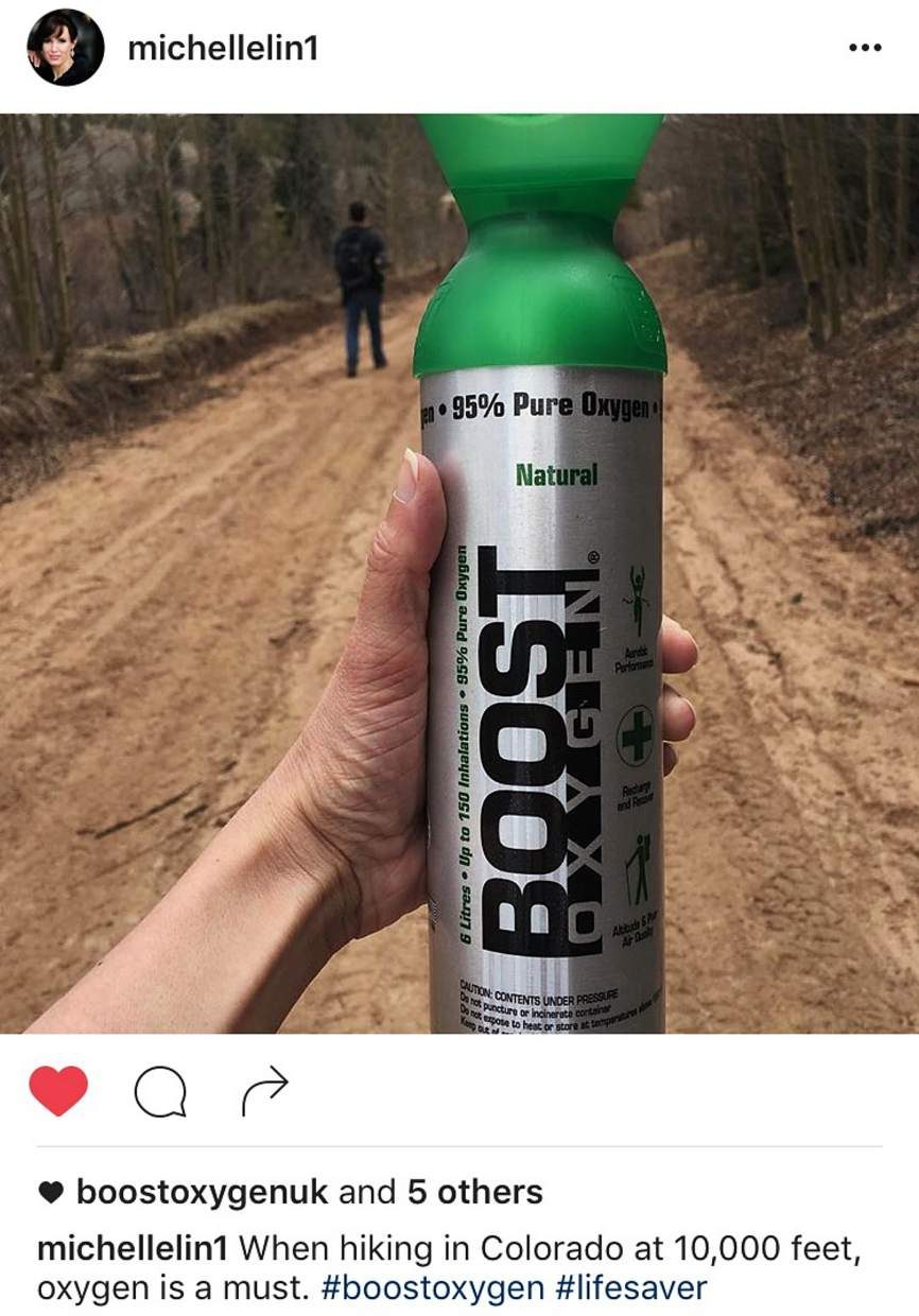 Social media chatter about Boost Oxygen, an over-the-counter oxygen system that features a single tank for quick application of pure oxygen. The company and athletes claim it helps for training at altitude, including above 9,000 feet in Summit County.