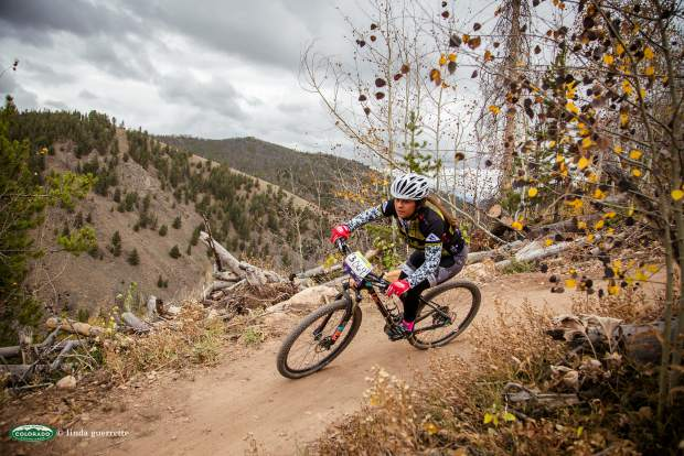 Valeria Fernandez of Battle Mountain High School on the trail at a recent mountain bike race. The senior is now captain of The Cycle Effect, a team for local teen girls, and holds a
