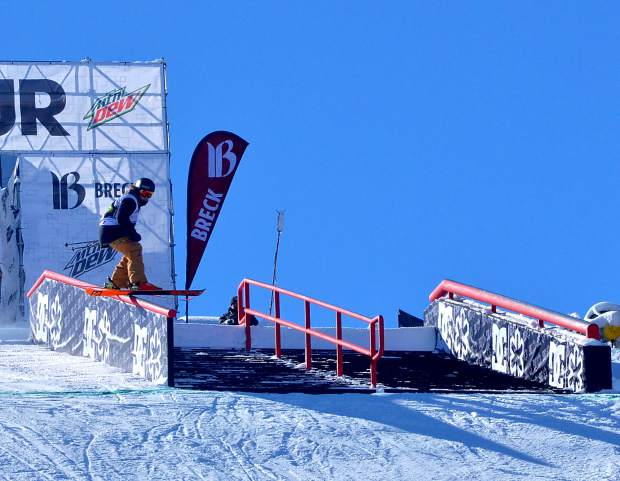 Great Britain's James Woods competes in the men's Dew Tour snowboard slopestyle in 2015 at Breckenridge. The event returns to Breckenridge with a new format Oct. 8-11.