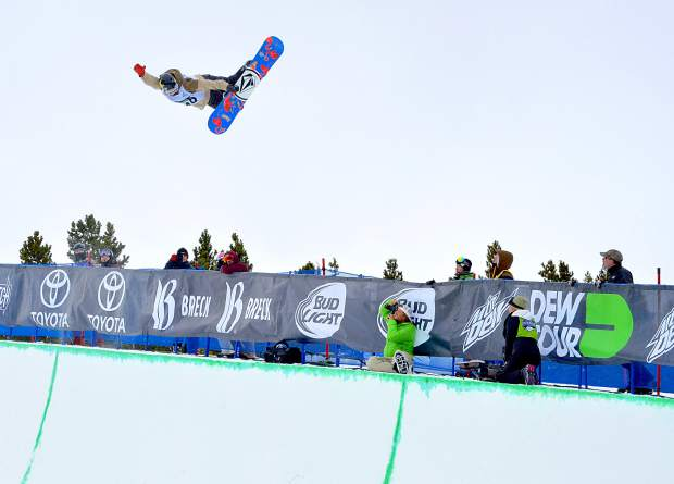 Ben Ferguson of Oregon holds a tweaked-out method grab during the first run of the men's snowboard superpipe semifinals for Dew Tour at Breckenridge in 2015. The event returns to Breckenridge with a new format Oct. 8-11.