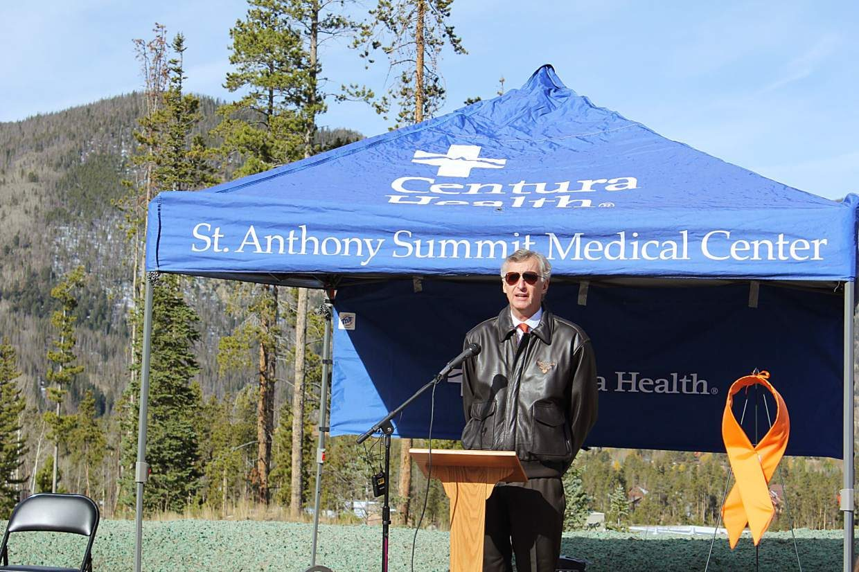Paul Chodkowski, the CEO of St. Anthony Summit Medical Center, began the opening ceremony for the Flight For Life Mahany Heroes Park on Saturday, Oct. 8.