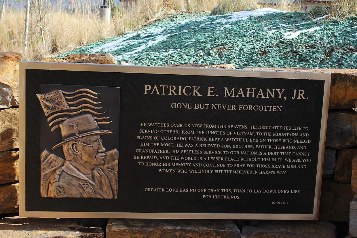 The bronze plaque in the reflection area of the Flight For Life Mahany Heroes Park features a small piece written by Patrick Mahany's son Ryan, followed by a Bible verse. The plaque was created at the request of Ryan Mahany.