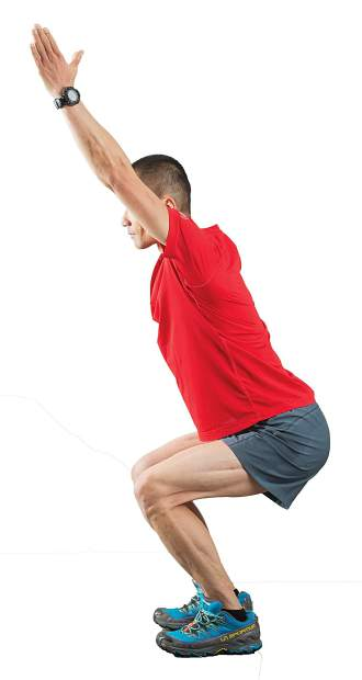 16. Squats with Overhead Reach into Heel Raise.