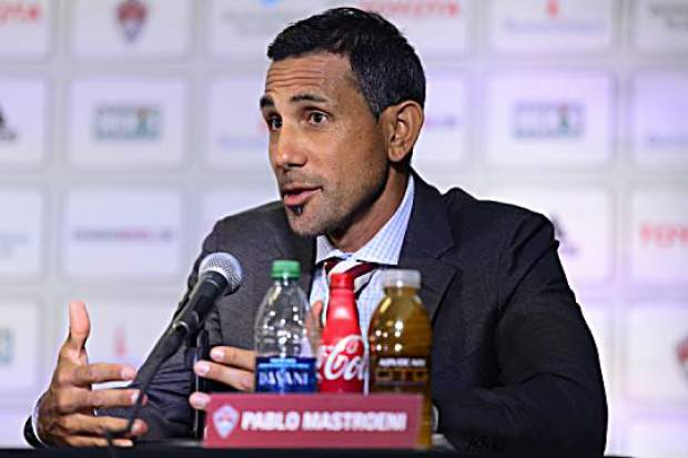 COMMERCE CITY, CO - JUNE 28:  Pablo Mastroeni addresses the media about Tim Howard as he is introduced as a member of the Colorado Rapids during a press conference at Dick's Sporting Goods Park on June 28, 2016. (Photo by Michael Reaves/The Denver Post)