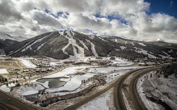 Copper Mountain covered in snow after the first storm of the season on Oct. 19. The resort is scheduled to open on Nov. 11, along with Breckenridge.