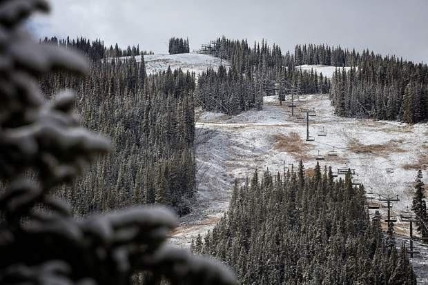 The slopes at Copper Mountain covered in snow after the first storm of the season on Oct. 19. The resort is scheduled to open on Nov. 11, along with Breckenridge.