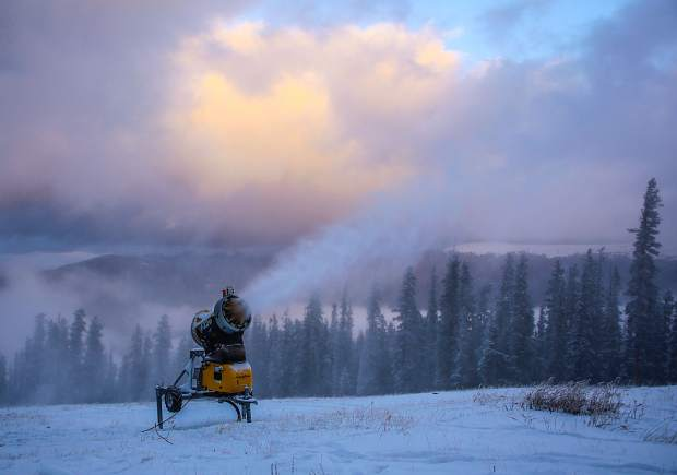 A mobile snowmaking gun blows snow on the upper portion of Dercum Mountain at Keystone Resort in late October. Keystone is scheduled to open on Nov. 4 with access on the River Run Gondola and Montezuma Express.