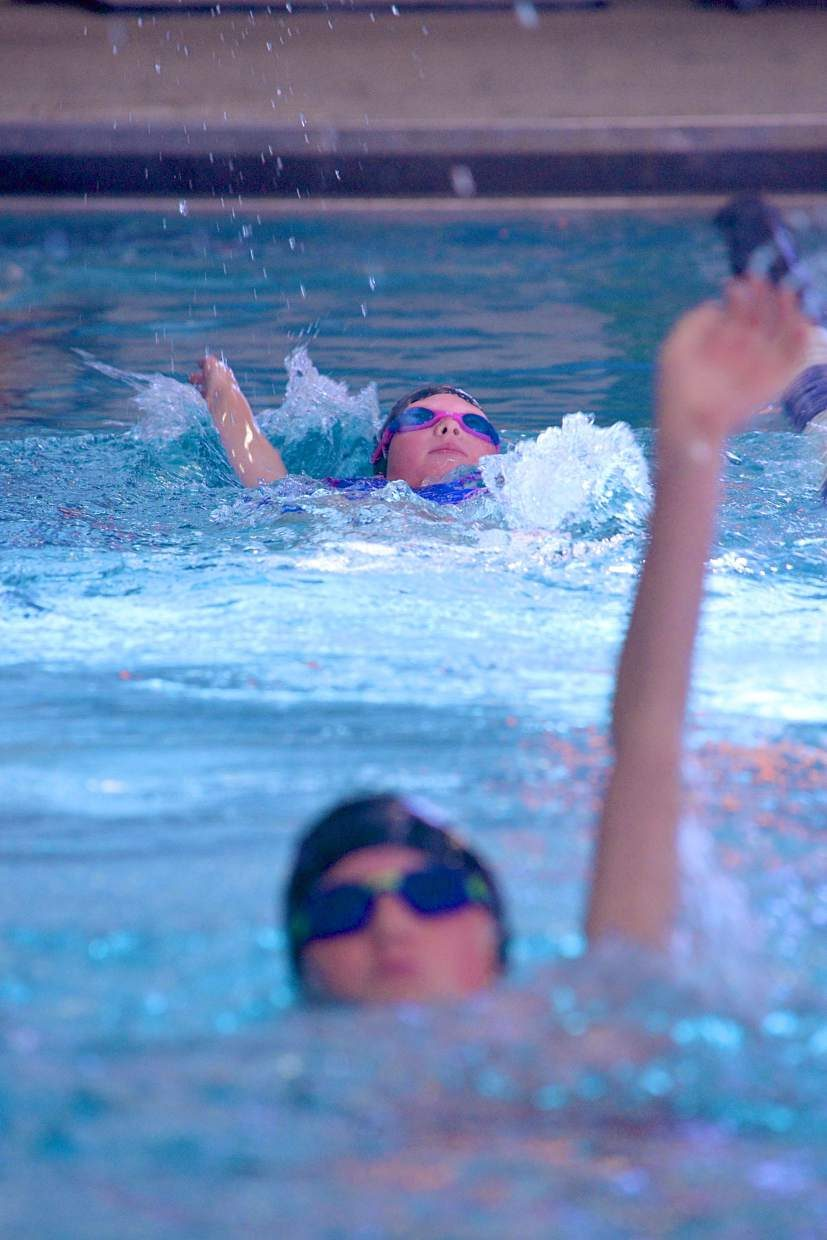 Swimmers with the Silverthorne Tsunami team practice backstroke during the first day of practice on Oct. 5. The team is open to swimmers of all abilities, from veterans to never-evers, with practices tailored to meet personal goals.