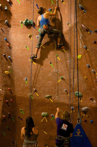 A trio of climbers on the vertical wall at Summit Climbing Gym in Silverthorne. The members-only gym is open from 6 a.m. to 11 p.m. daily for members and 6-8 p.m. from Monday through Thursday for drop-in climbers.