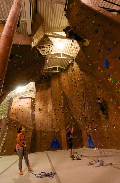 Climbers work up the top-rope and lead-climbing routes at Summit Climbing Gym, the only nonprofit, members-run rock gym in the Central Rockies. The gym turns three years old on Nov. 1 and celebrates with the local premiere of