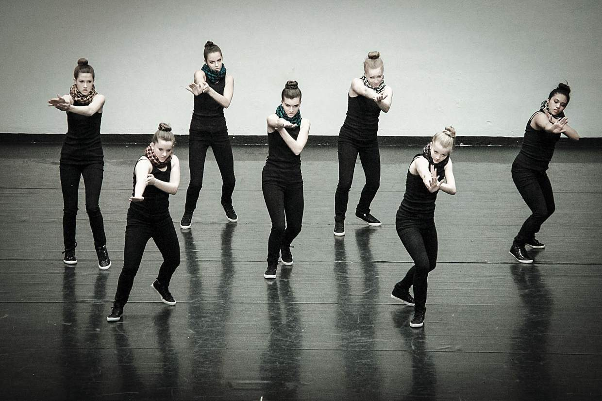 Summit High's Megan Kidd (second from the left) during a group performance at the International Dance Challenge in Denver. Kidd practices four days per week for up to three hours nightly with the Alpine Dance Academy to perfect her technique.