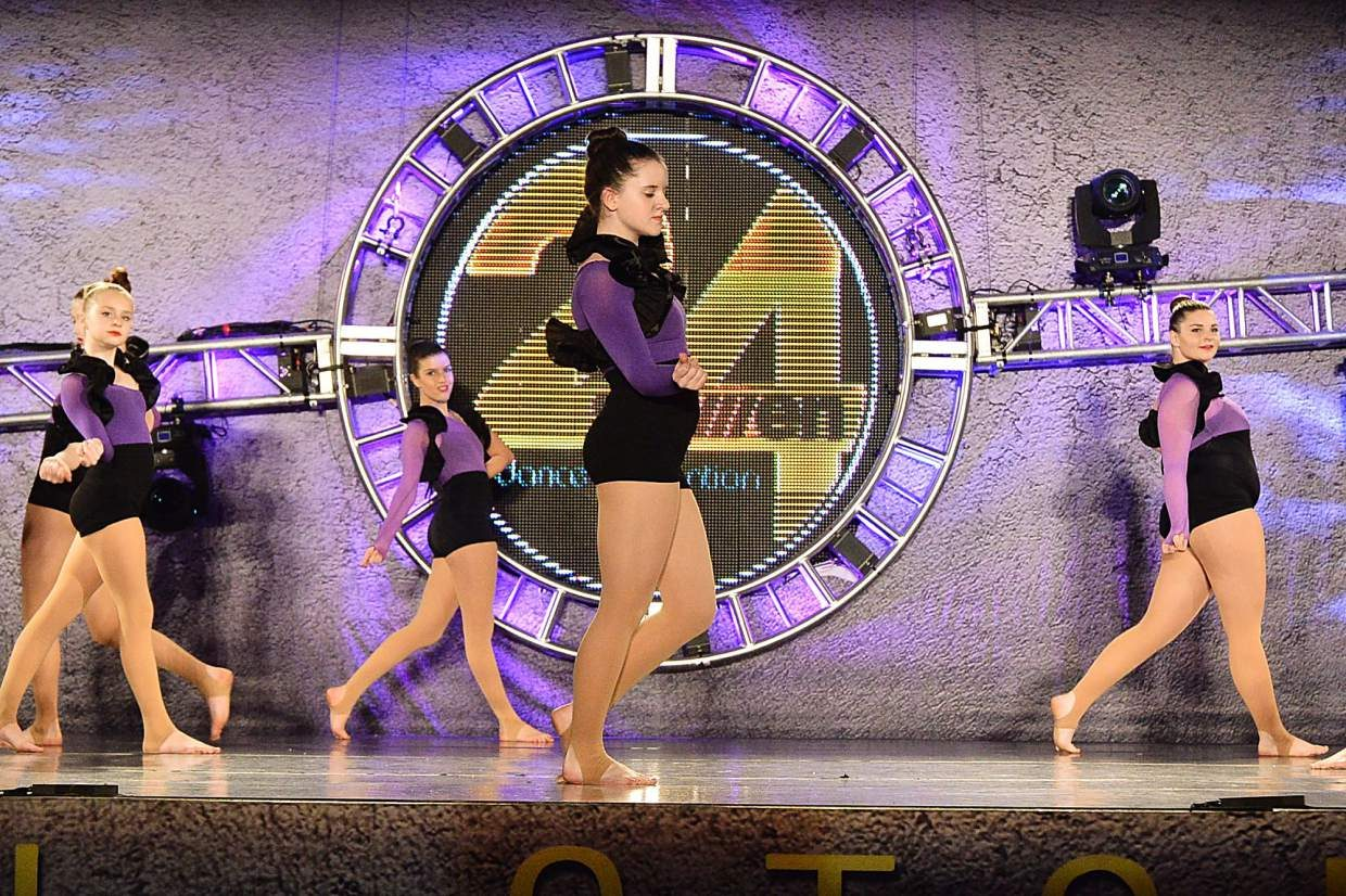 Summit High's Megan Kidd (center) at a recent dance competition. The 17-year-old senior has been dancing since 3 years old with Alpine Dance Academy in Frisco.