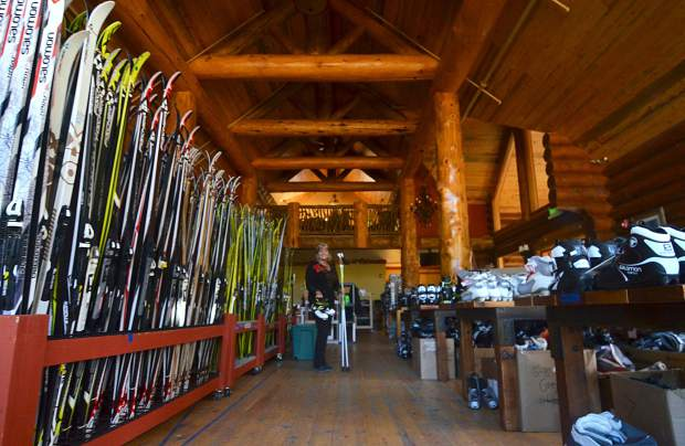 Therese Daytons stands in the middle of row upon row of Nordic skis and boots at the Breckenridge Nordic Center. The center hosts its annual swap this year from Nov. 11 to Nov. 22, with deals on gear daily from 9 a.m. to 4 p.m.