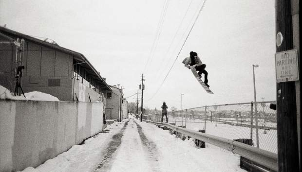 Brendan Gerard tweaks it out over a gap while filming in Denver in 2010, via Instagram @stuntdickgerry.