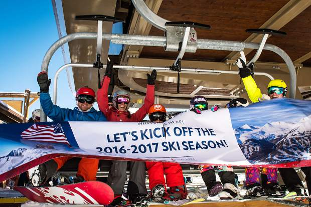The first chair takes off from the base of Peak 8 at Breckenridge Ski Resort on opening day Nov. 19. More than 3,000 skiers and snowboarders came to Breck for top-to-bottom skiing on two runs: Crescendo and lower Springmeier.