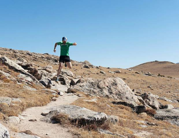 Local skyrunner Derek Brooks on a high-alpine trail in Rocky Mountain National Park, found about three hours north of Breckenridge outside of tiny Estest Park. The area is fast becoming a Mecca for trail runners who crave rocky, steep terrain and variable conditions.