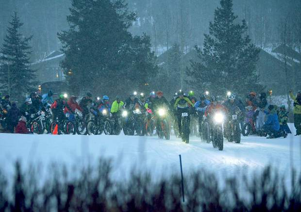 Nearly 60 riders with headlamps take off from the start line for the men's open race at Ullr Bike at the Gold Run Nordic Center on Jan. 15. Fat-bike racing returns to Breckenridge with the Fat Bike Open in Breckenridge on Dec. 3.