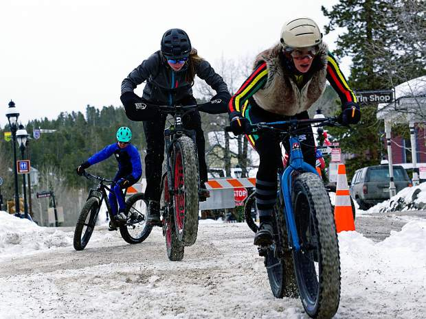 Fat-bike riders power through a slipper course in downtown Breckenridge during the inaugural Ullr Bike in January 2016. Fat-bike racing returns to Breckenridge with the second annual Fat Bike Open in Breckenridge on Dec. 3.