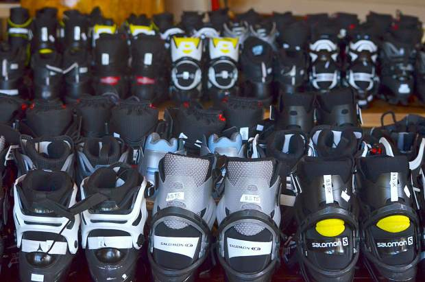 Nordic boots at a recent ski swap in Breckenridge. The Summit Skimo Club is hosting a ski swap for Nordic, alpine-touring and other uphill travel gear at the Frisco Adventure Center day lodge on Nov. 16.