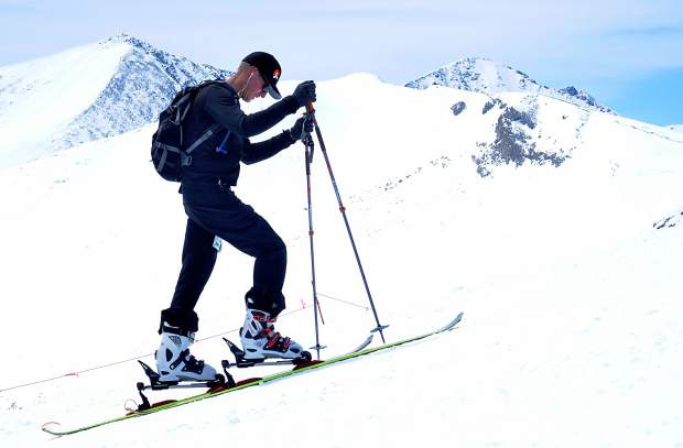A skier on alpine touring gear skins up Imperial Ridge during the 2016 Imperial Challenge at Breckenridge. The Summit Skimo Club is partnering with the Frisco Adventure Center for the second season to introduce locals to uphill travel, including AT gear and skimo-specific equipment.