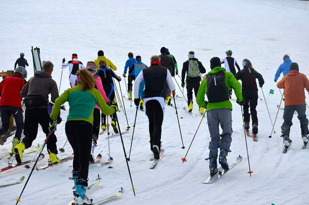 Competitors leave the start line during the Breck Ascent Series finale last season. The series, which pairs well with the Summit Skimo Club's slate of December clinics, gives veterans and newcomers a taste of ski mountaineering on a variety of terrain.
