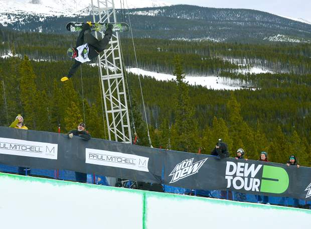 Taylor Gold of Steamboat Springs stalls out in the middle of a huge 900 during his first run at the men's snowboard halfpipe semifinal at the Dew Tour in Breckenridge on Dec. 10. Gold, who has made the podium at Dew Tour twice in the past two years, rides exclusively on Unity Snowboards from Silverthorne.