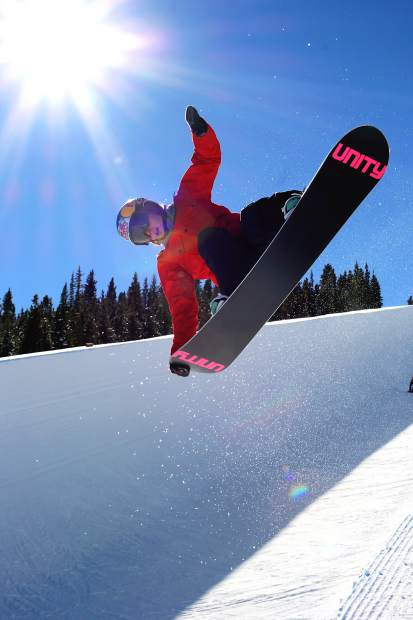 Arielle Gold practices on the halfpipe at Breckenridge Ski Resort. Arielle and her twin brother, former Dew Tour halfpipe champ Taylor, ride exclusively on Unity Snowboards made in Silverthorne.