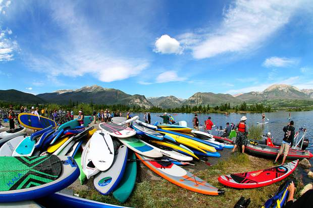 The SUP pile at the 2015 Frisco Triathlon on Lake Dillon in 2015. This season, SUP manufacturers have experimented with larger decks and more features, including boards made specifically for fly-fishing.