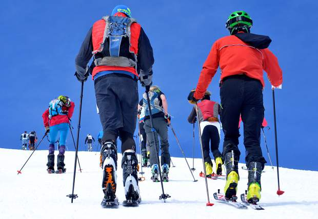 Skiers and snowshoers take off on the final stretch of the uphill section at the 2016 Imperial Challenge on April 22 in Breckenridge. Alpine touring and backcountry travel are two of the fastest-growing segments of the snow sports industry, and with them come a fervent interest in the latest avy safety.